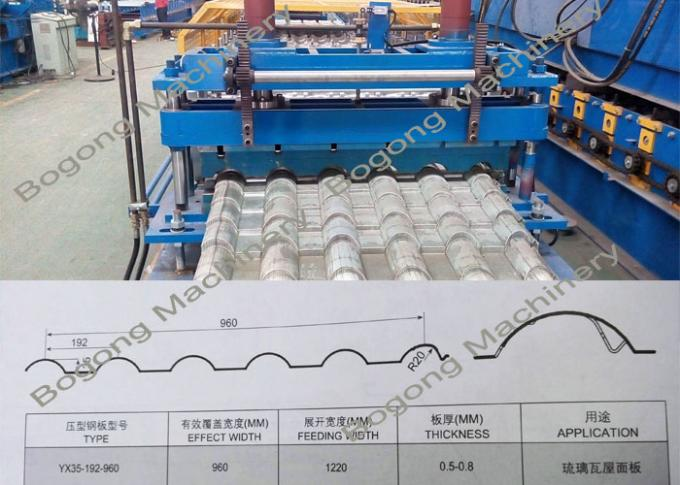 Automatic Roof Tile Roll Forming Machine Large Scale 75mm Shaft Diameter