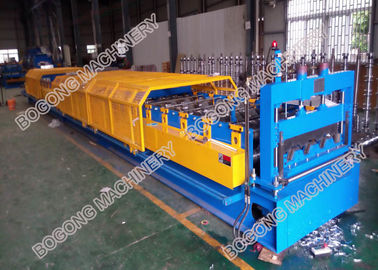 China Galvanized Coil Floor Deck Roll Forming Machine PLC Control With Embossing supplier