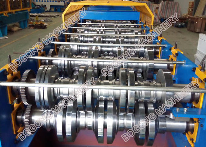 Galvanized Coil Floor Deck Roll Forming Machine PLC Control With Embossing